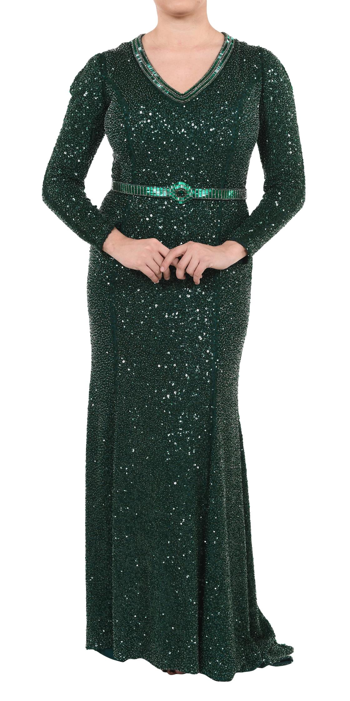 Long Lebanon In Andrew Sleeve Designer Rent Gn Sequined 24 Dress nk0wON8PX