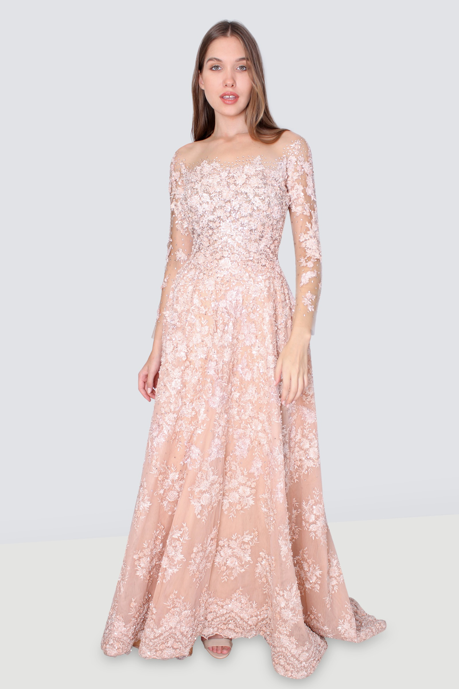 575c4e7c24b36 Rent ADEN Embroidered A-line Sheer Gown in Lebanon - Designer 24