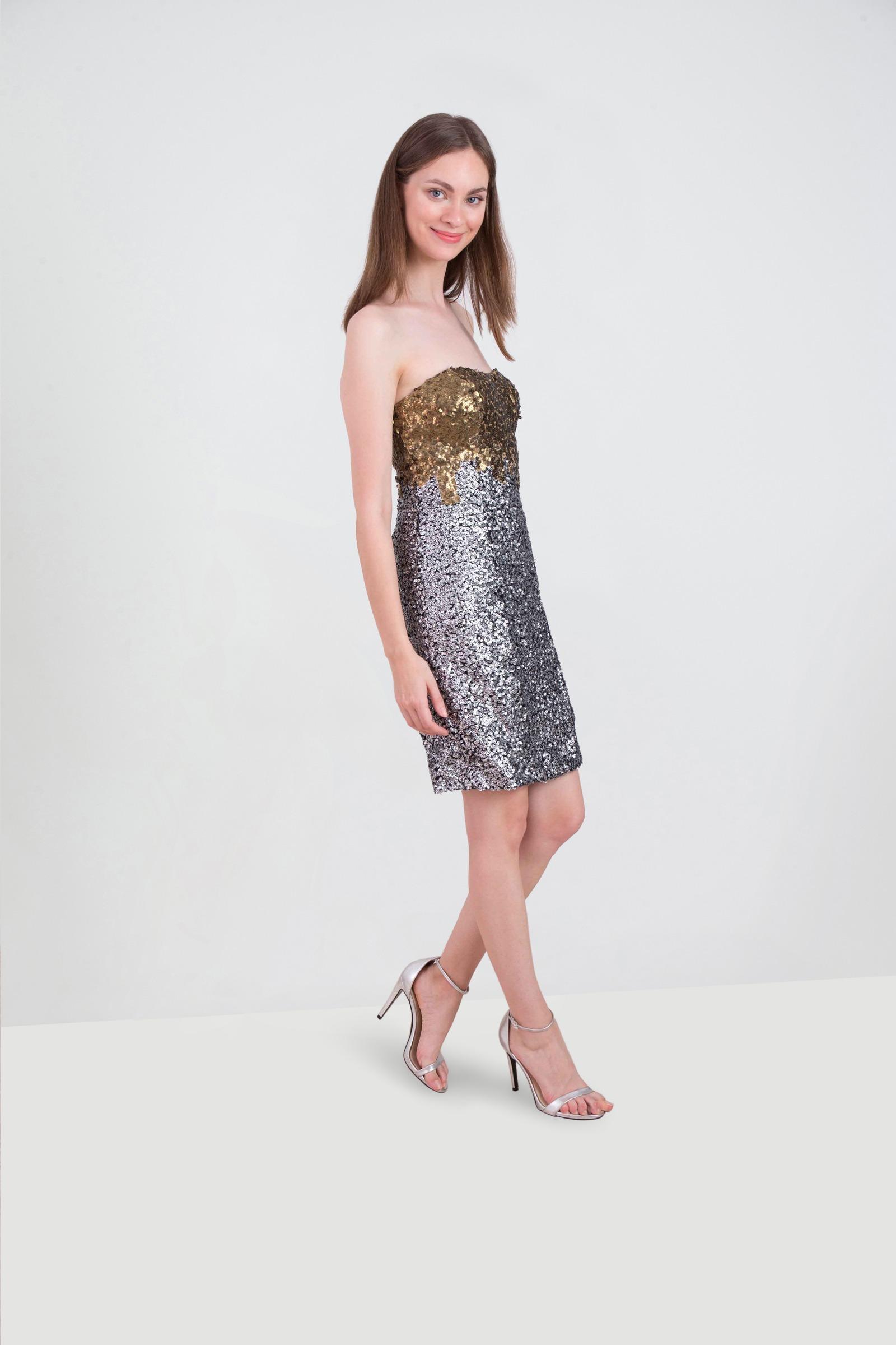 b4307e78 Rent ALBERTO MAKALI Two Toned Metallic Tube Dress in Dubai - Designer 24