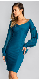 Nue by Shani Long Sleeve Silk Chiffon Mini Dress