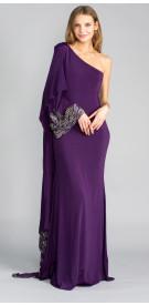 Jovani Asymmetric Silk Dress