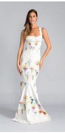 Roland Mouret Printed Mermaid Gown