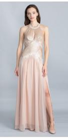Bebe Halter Embellished Gown