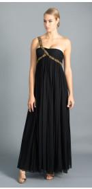 Marchesa One Shoulder Embellished Gown