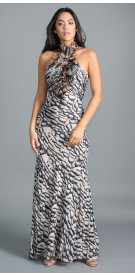 Roberto Cavalli Feathered Halter Gown