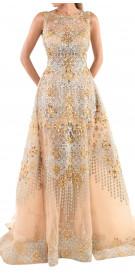 Ali Al Khechen Metallic Overskirt Gown