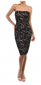 Marchesa Notte Strapless Guipure Dress