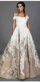 Hussein Bazazza Off The Shoulder Ball Gown with Veil
