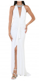 Nicole Bakti V-Neck Choker Gown
