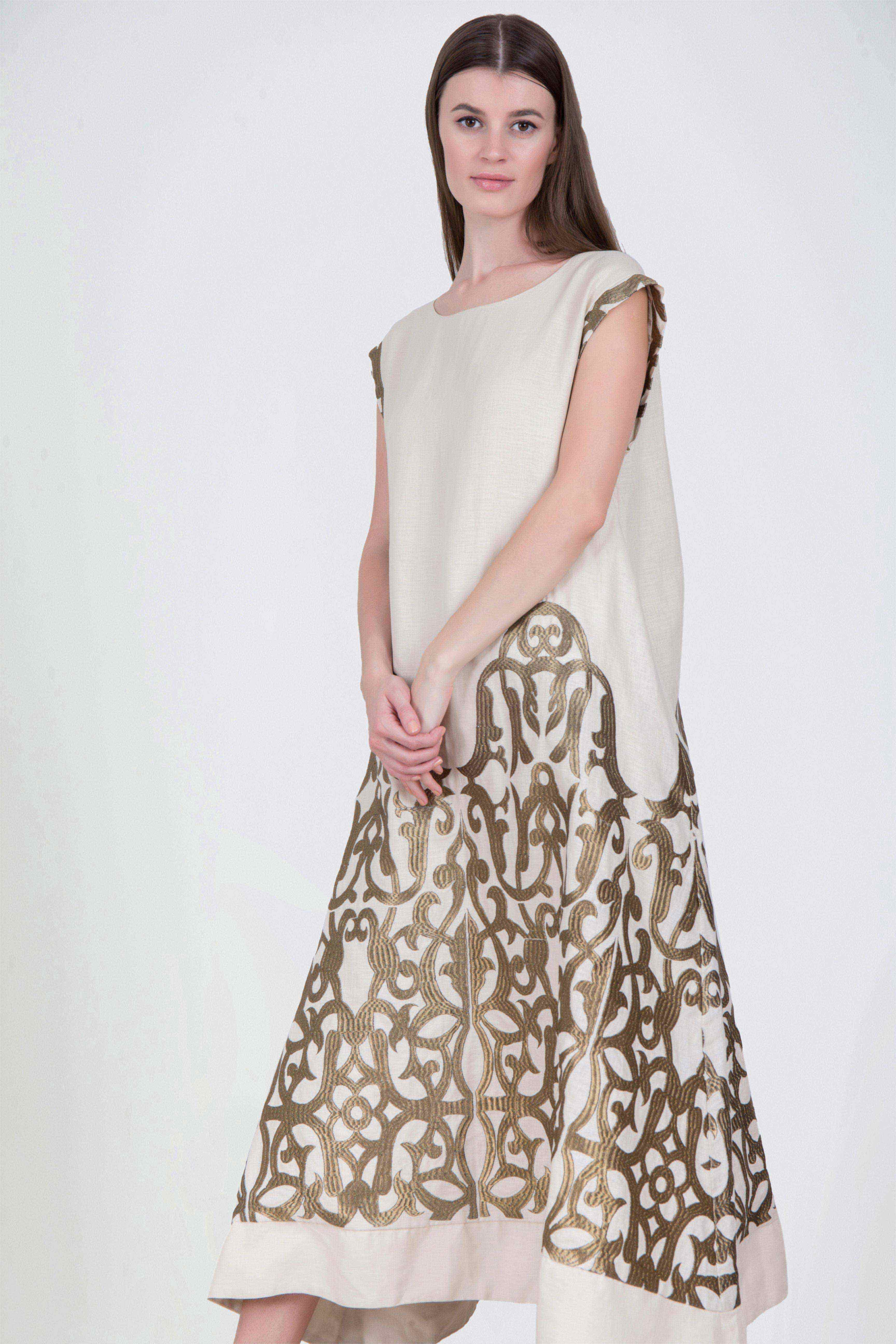 8331fc4b8708 Rent AL JAWHARA Embroidered-linen Kaftan in Dubai - Designer 24