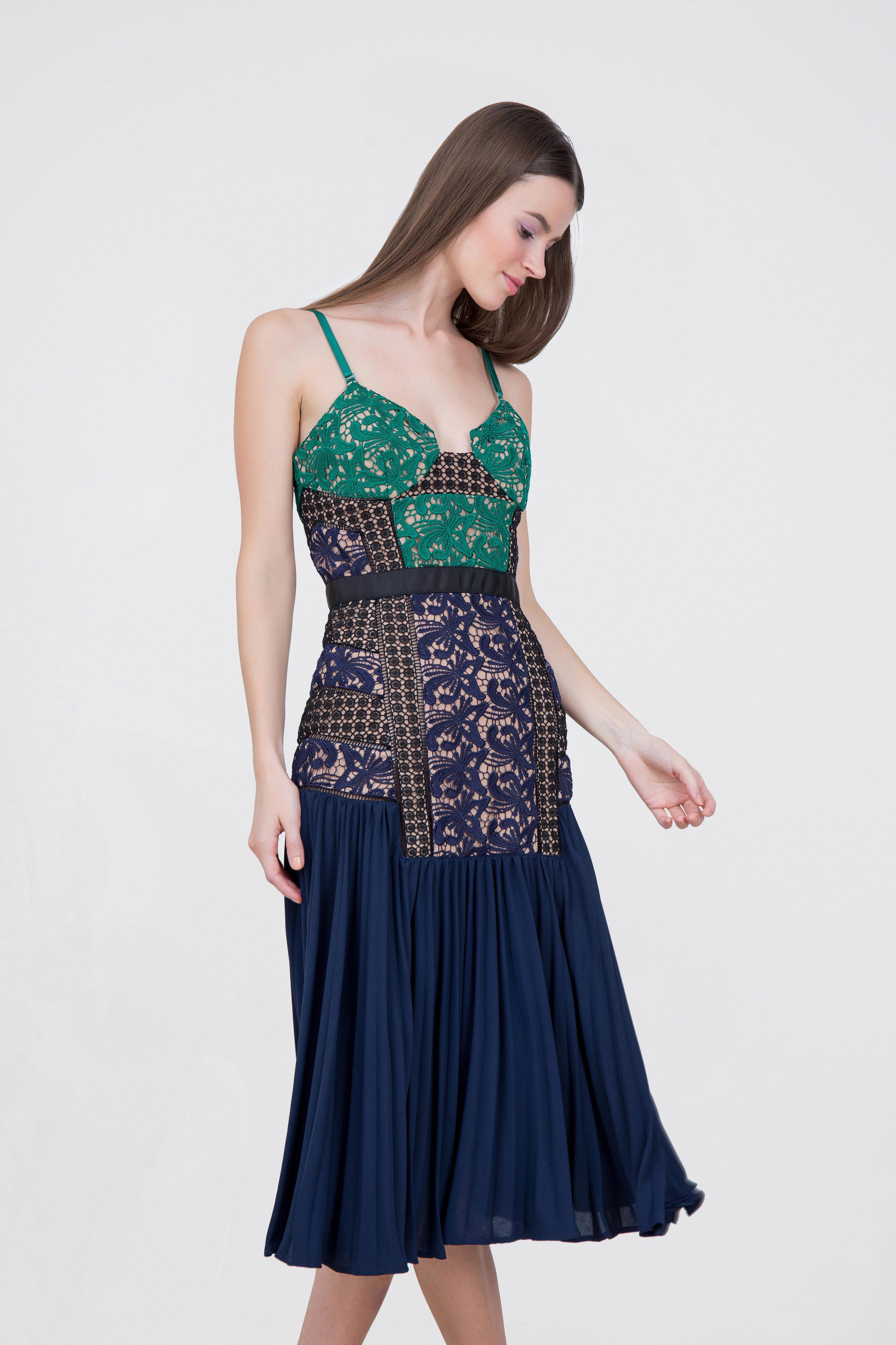 734d55574226 Rent SELF-PORTRAIT Lace Pleated Dress in Dubai - Designer 24