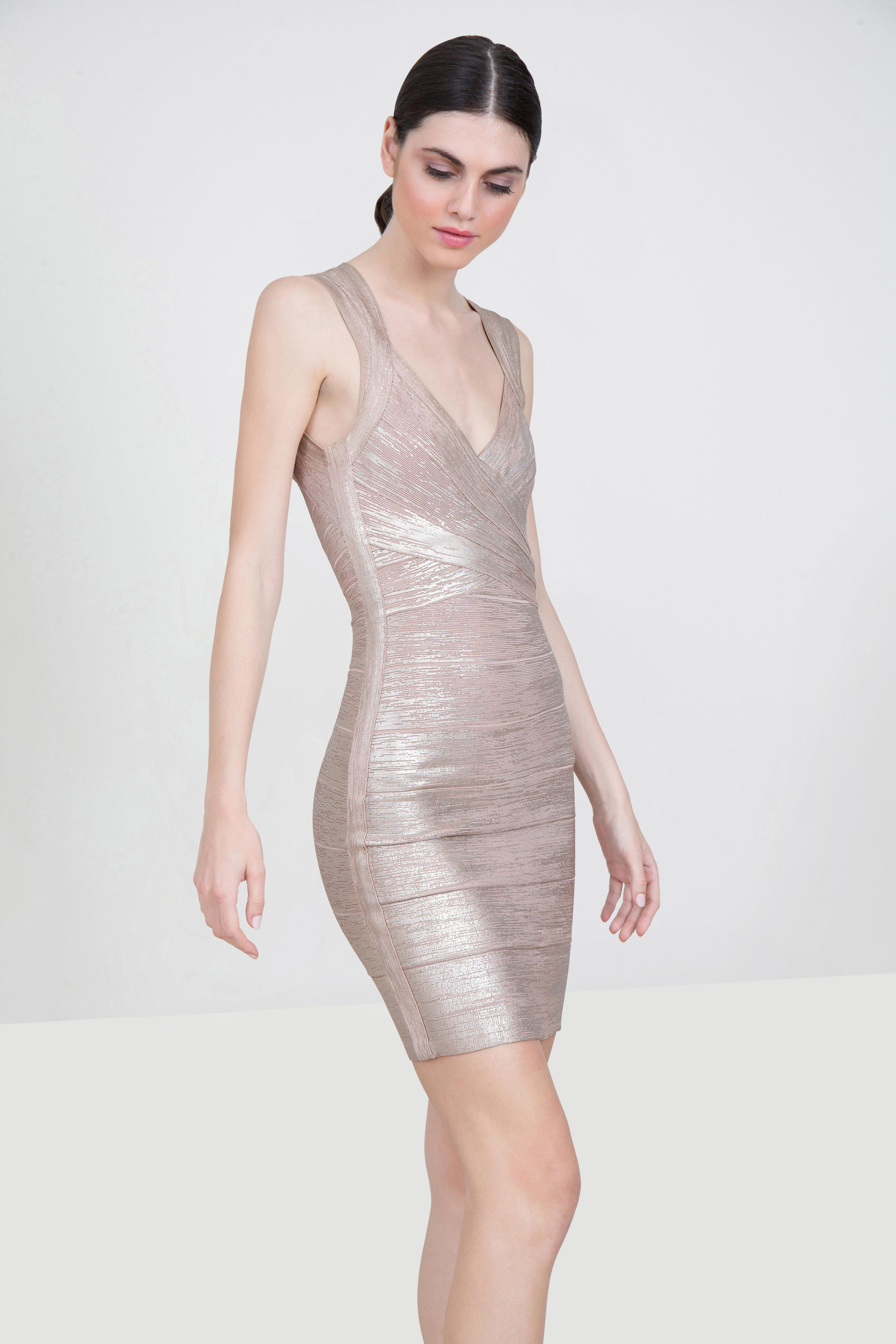 3fd83f35 Rent HERVÉ LÉGER Metallic Bandage Mini Dress in Dubai - Designer 24