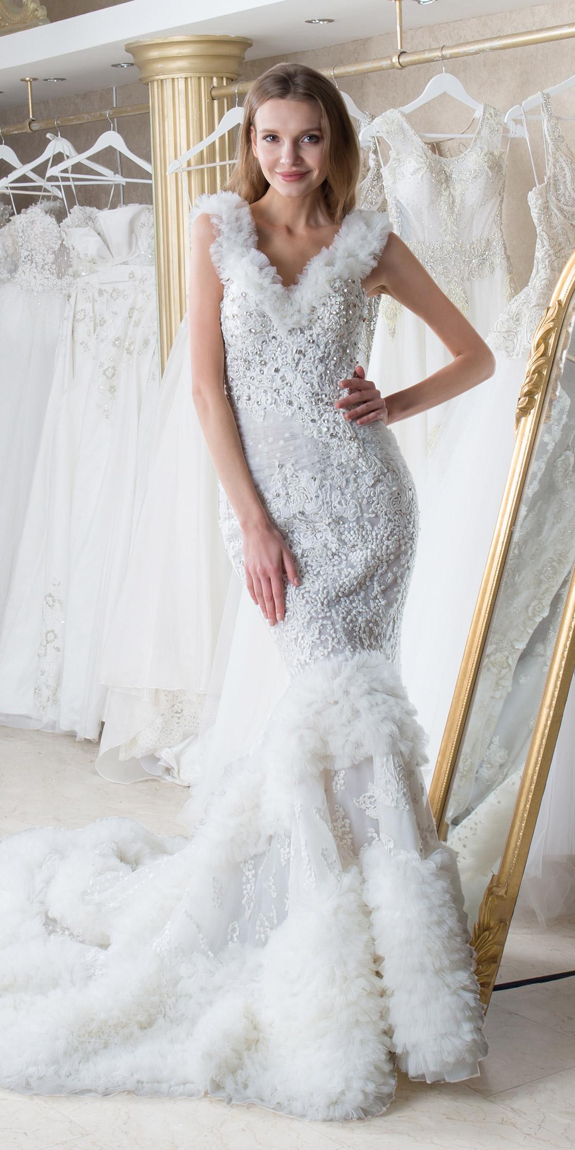 021c5fa6c994 Rent MAISON ELEGANCE V-neck Lace Mermaid Gown in Dubai - Designer 24