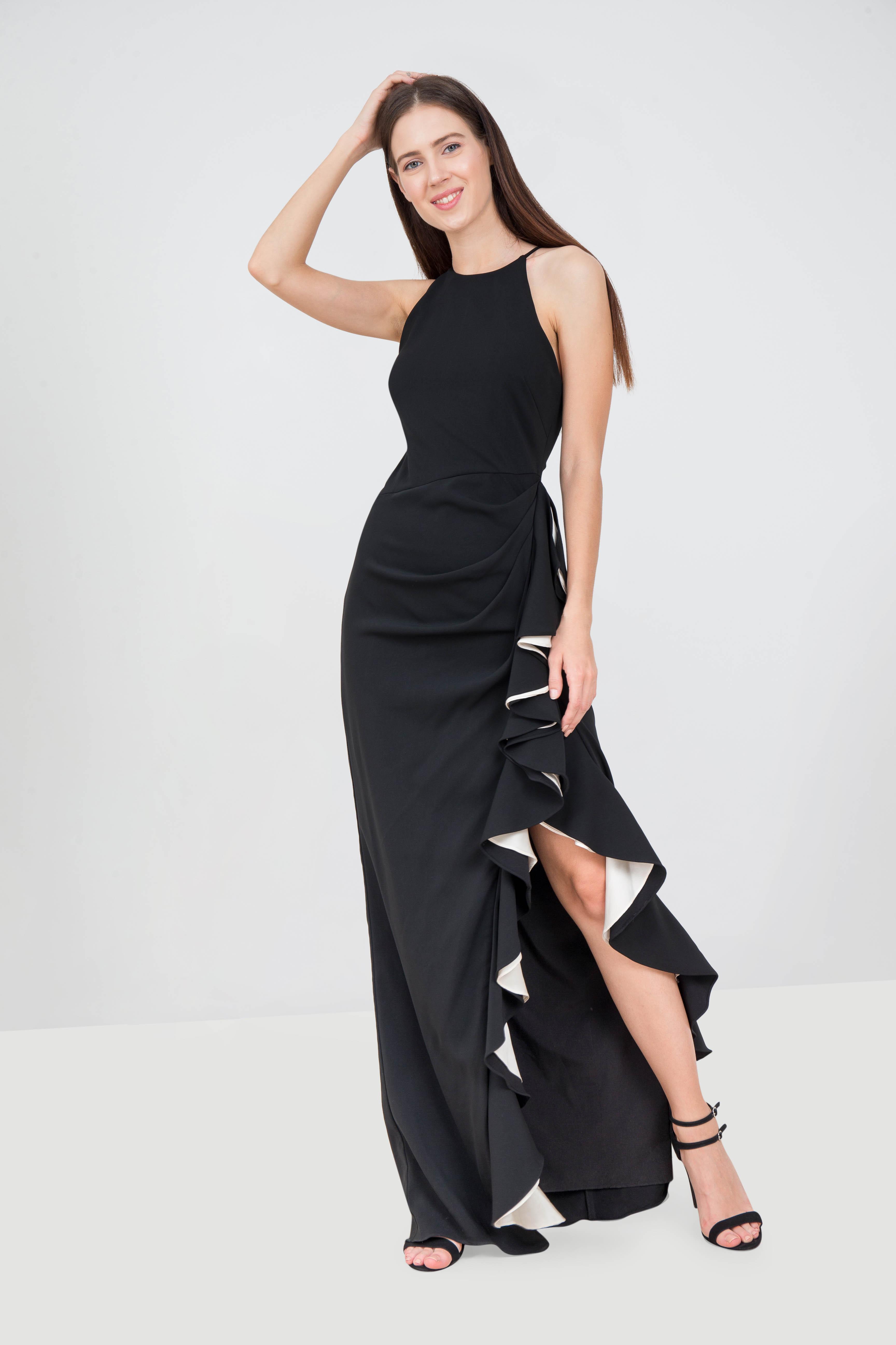 b77eecaa8ebe Rent BADGLEY MISCHKA Ruffle Trim Halter Gown in Dubai - Designer 24