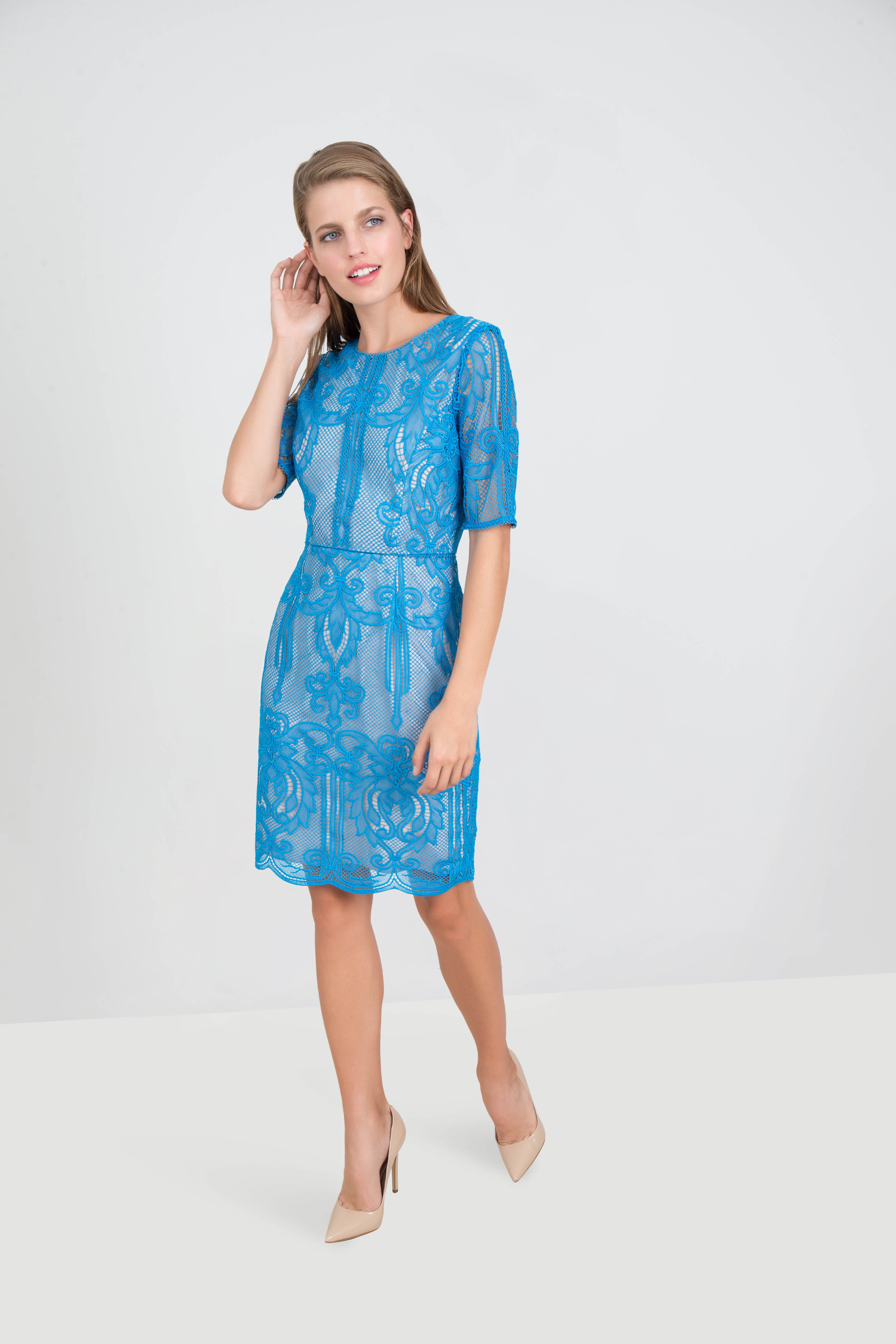 Rent Reiss Short Sleeve Guipure Lace Dress In Dubai