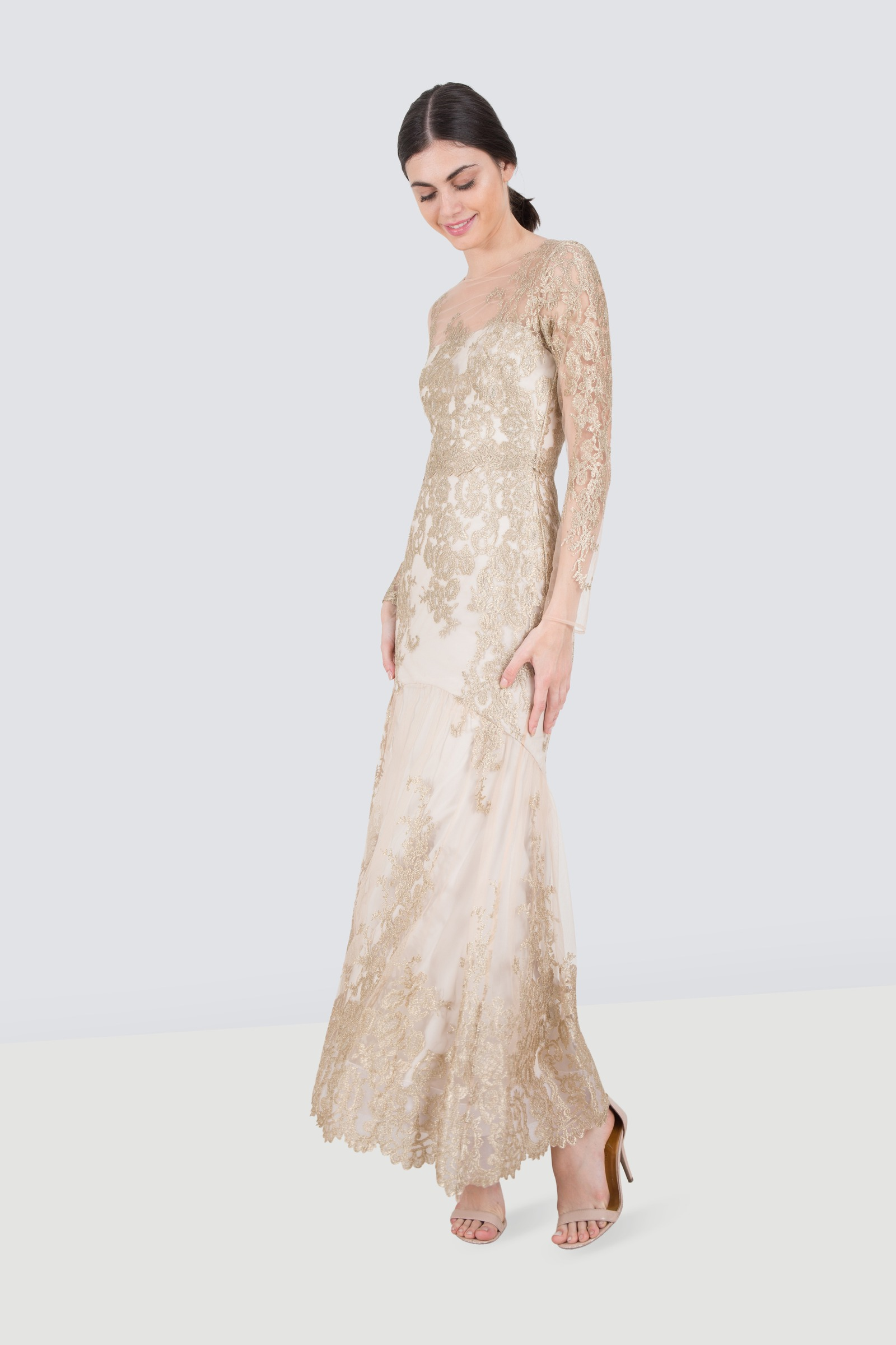 569dd7cbf0efa Rent MARCHESA NOTTE Sheer Embroidered Lace Gown in Dubai - Designer 24