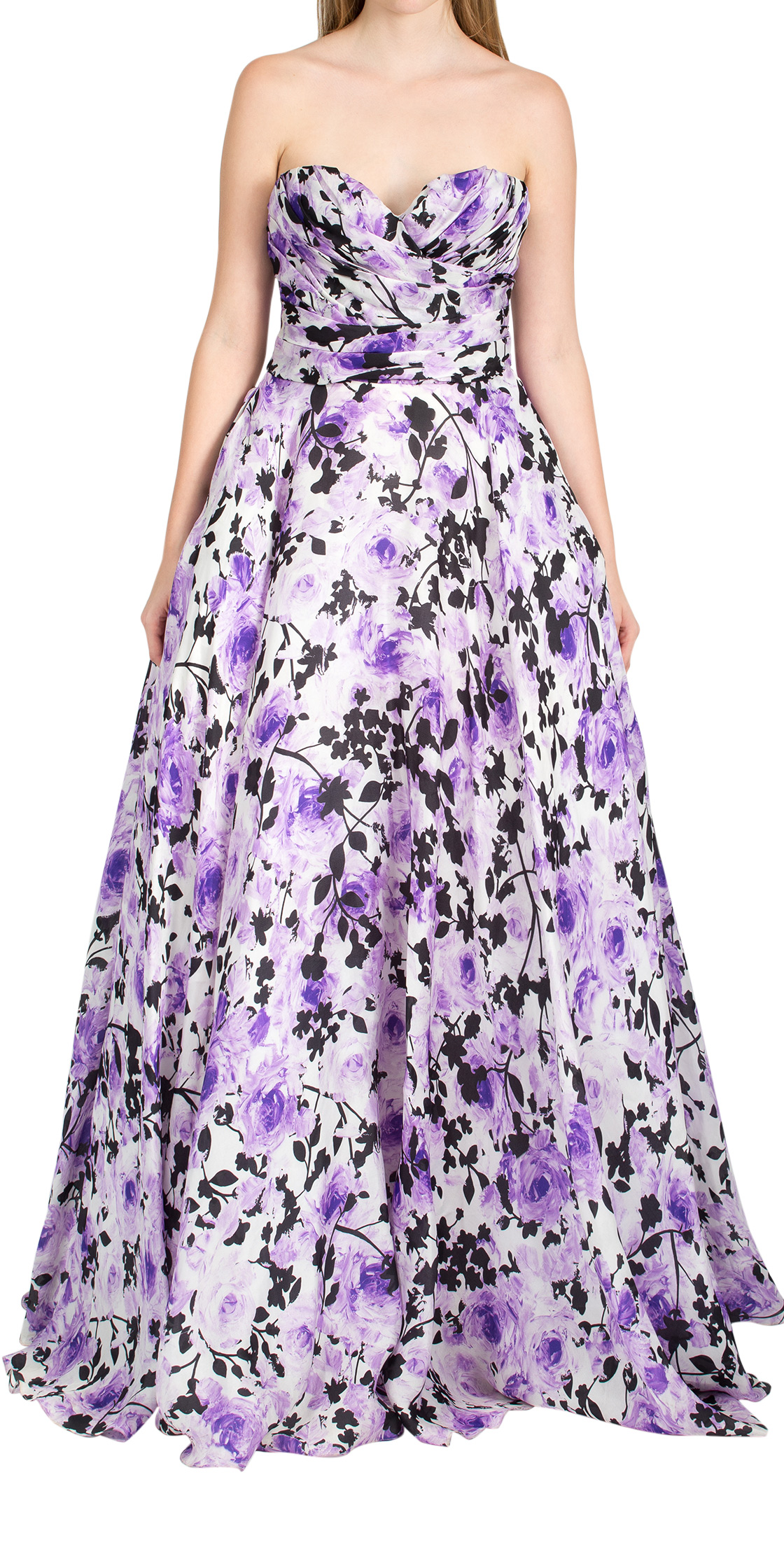 Rent NAEEM KHAN Strapless Floral Gown in Dubai - Designer 24