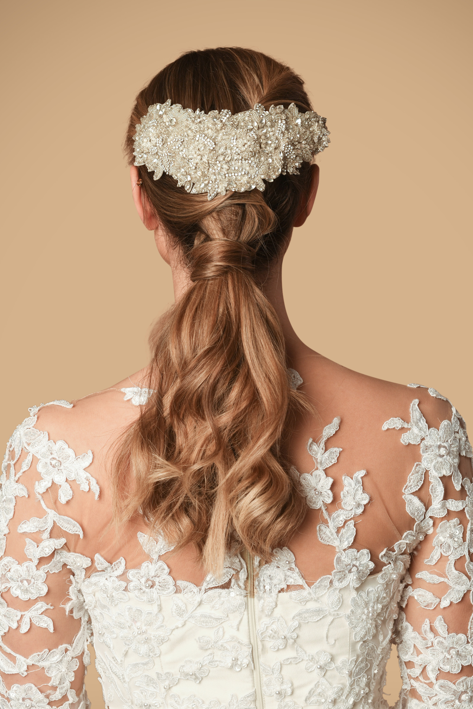 Rent Pronovias Antique Gold Fabric Hair Pin In Lebanon Designer 24