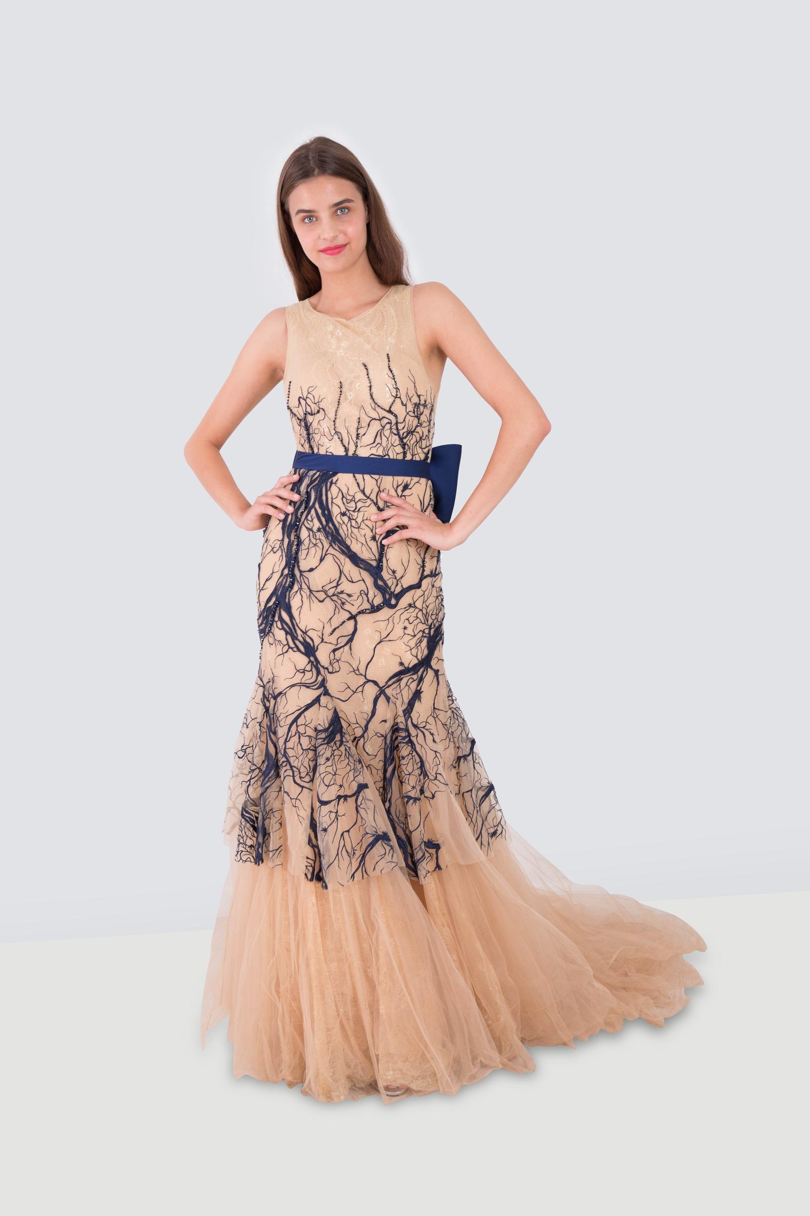 9ef8a2e6d923 Rent TARIK EDIZ Bow Belted Lace Chiffon Gown in Dubai - Designer 24