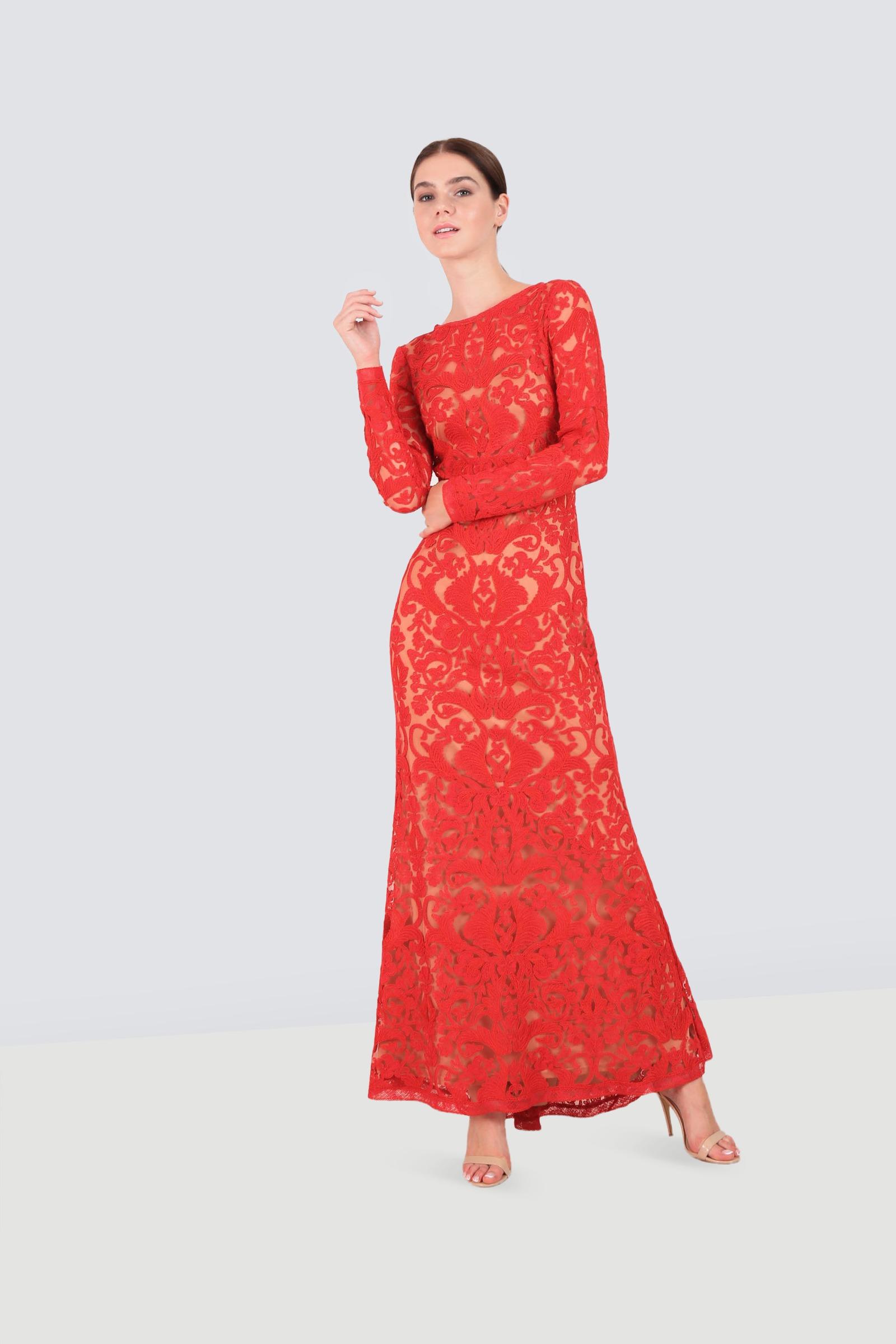 6d5d740614790 Rent TADASHI SHOJI Long Sleeve Embroidered Gown in Dubai - Designer 24