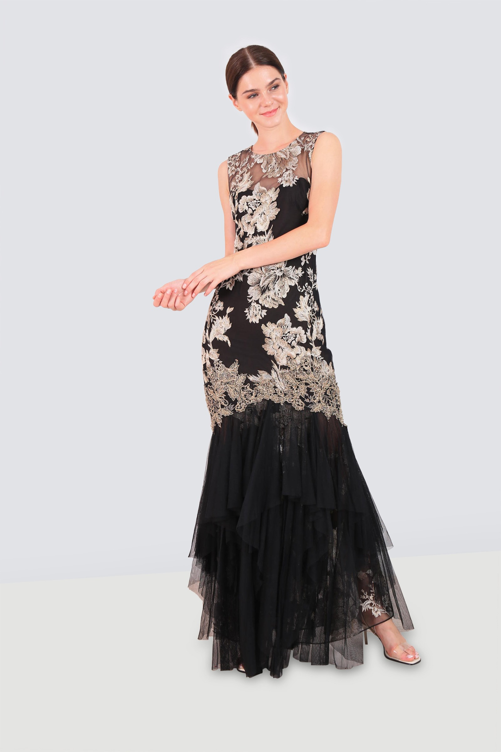 a6ff2c7ff032 Rent MARCHESA NOTTE Metallic Embroidered Tulle Gown in Jordan ...